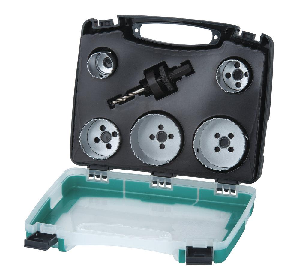 Wolfcraft Wolfcraft sada 5 Bi-metalových děrovek  sanita 25-83 mm + upínací trn, v kufru 5422000
