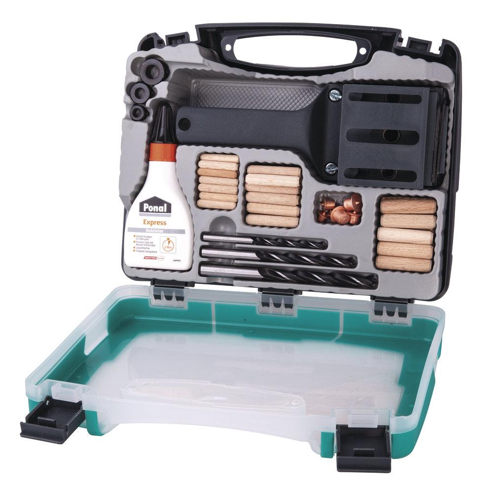 Mistovská kolíkovačka v univerzálním boxu s dřevěnými kolíky Wolfcraft